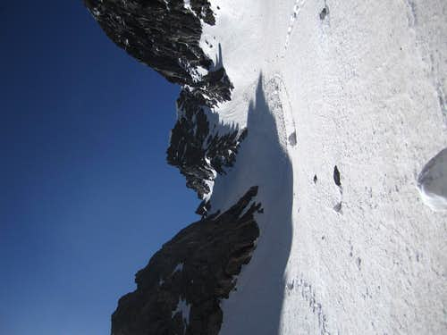 Looking up the couloir