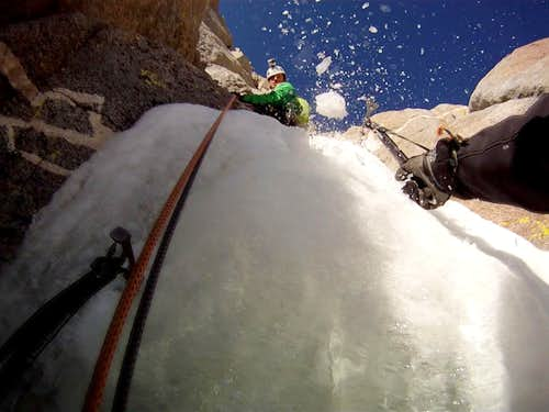 Crux pitch in the Clyde Couloir