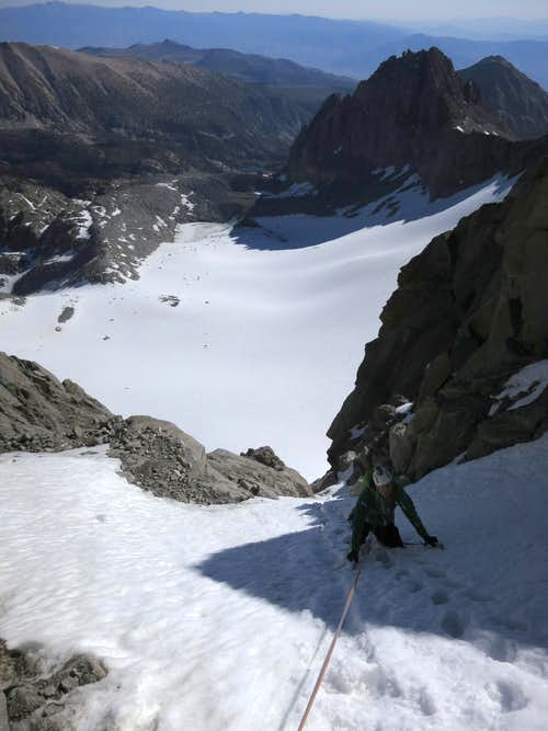 Above the crux pitch in the Clyde Couloir