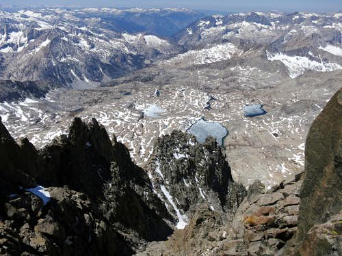View of Palisade Basin and Barrett Lakes from the notch