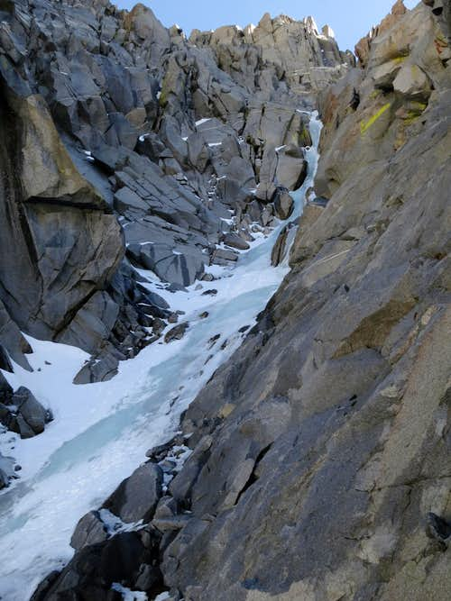 The crux ice pitch and below in the Clyde Couloir