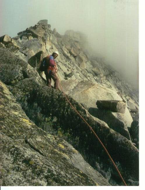 Climbing the South ridge in...