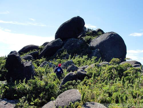 The summit boulders of