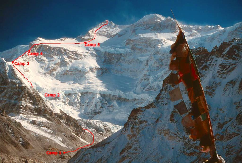 Kangchenjunga North face first ascent route