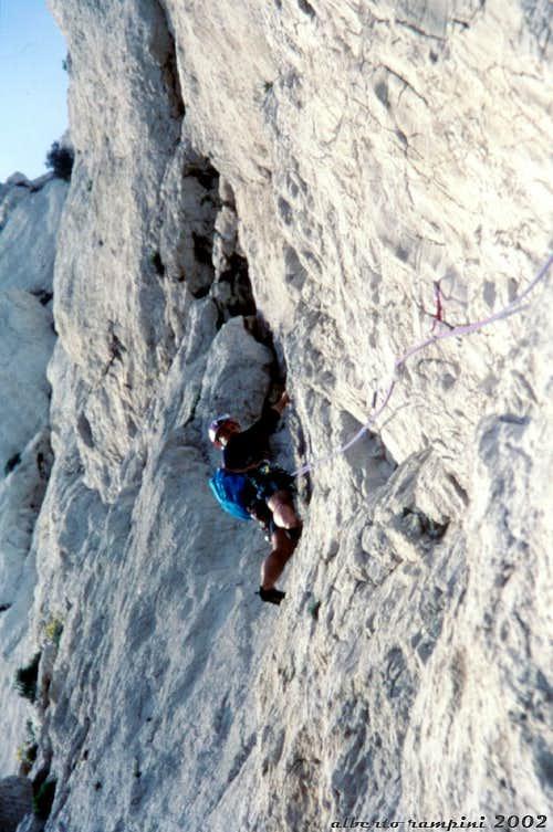 Bec de Sormiou, a steep limestone's wall on Eperon NE