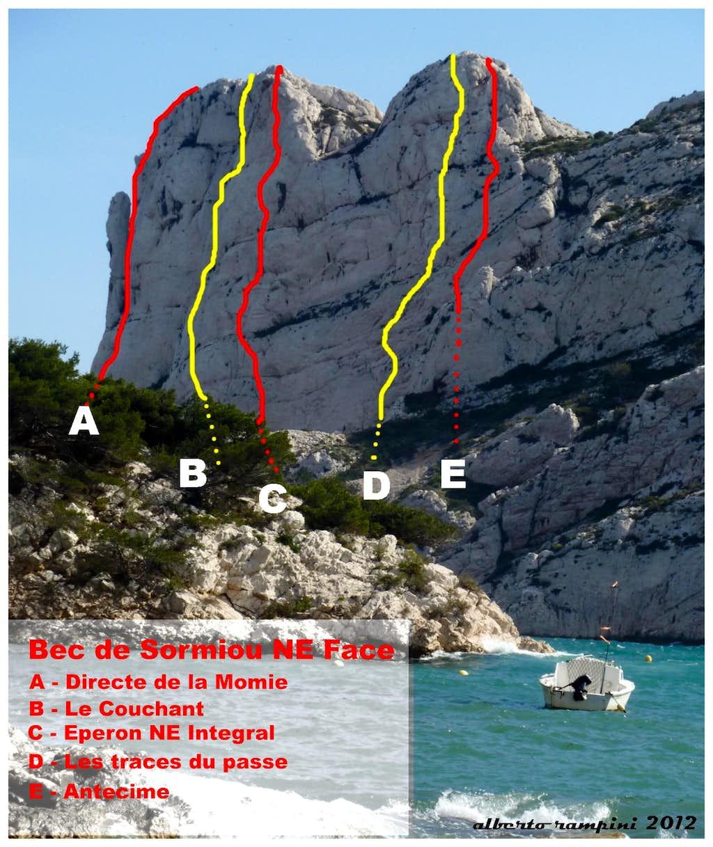 Bec de Sormiou selected routes topo, Calanques