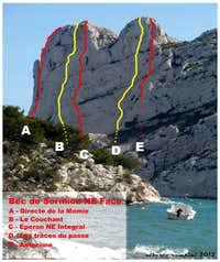 Bec de Sormiou selected routes topo