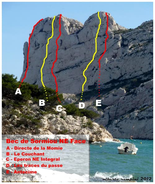 Bec de Sormiou selected routes topo, Calanques