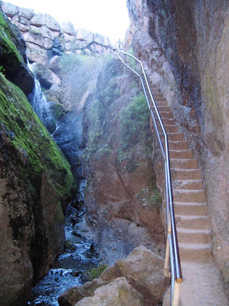 Typical steps cut into the rock