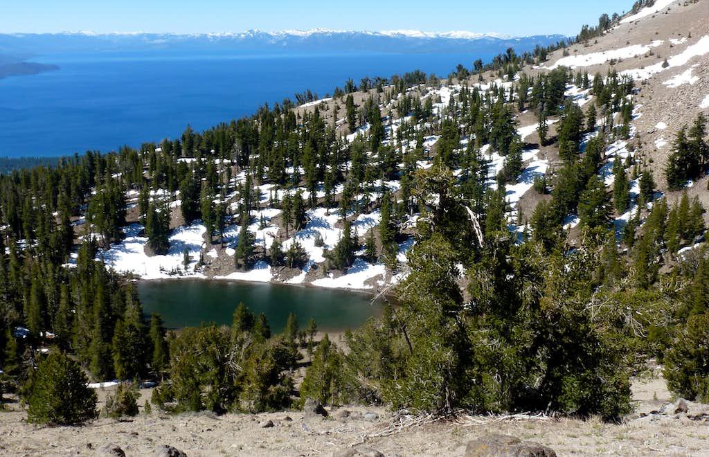 View down to Mud Lake and Lake Tahoe en route to Rose Knob Peak