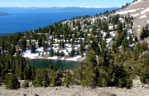 View down to Mud Lake and Lake Tahoe en route to Rose Knob Peak