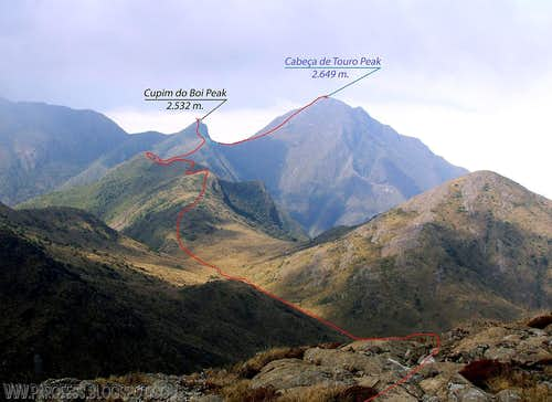 Route to Cabeça de Touro Peak