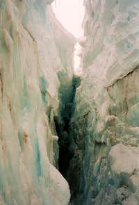 Inside a crevasse on Mount Rainier's Nisqually glacier