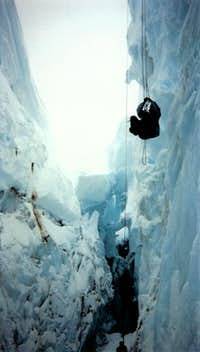 Self-rescue practice inside a crevasse on Mount Rainier's Nisqually glacier