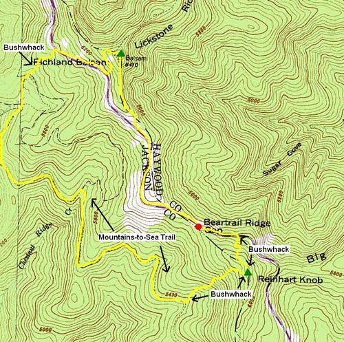 Reinhart Knob - Richland Balsam Route Map
