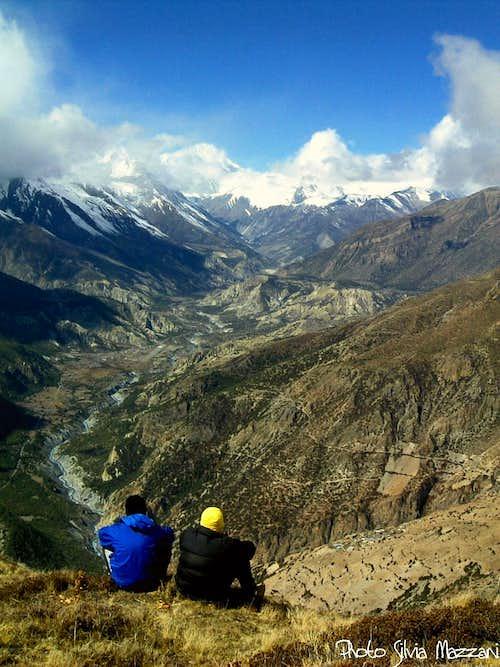 Looking towards Manang from Pisang Peak Base Camp (Annapurna)
