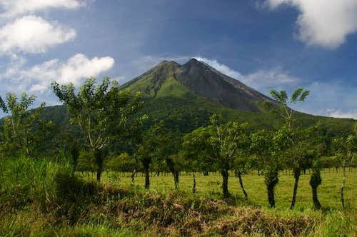 View on the Arenal volcano on a clear day