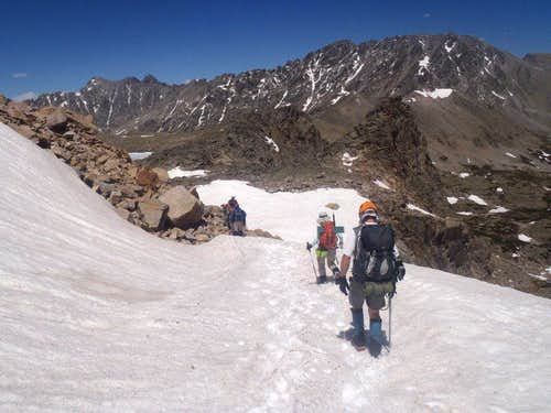 Exiting the snowfield