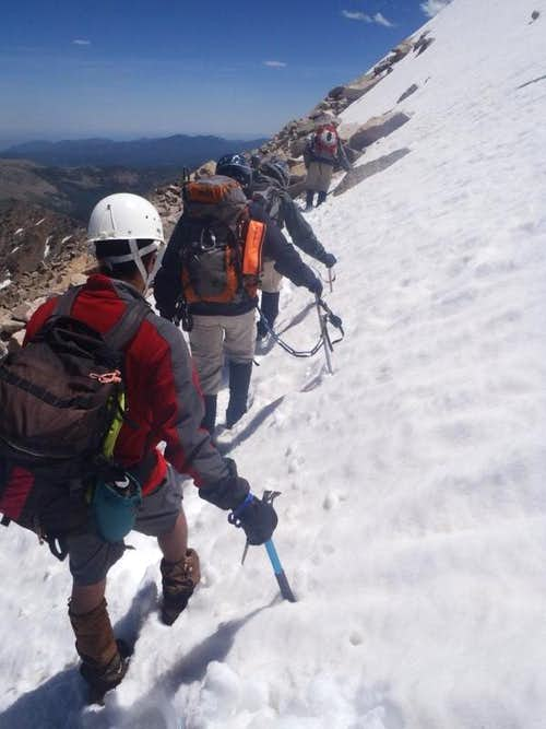 Snow traverse on descent