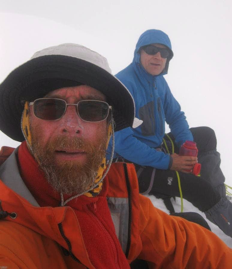 Pierre and me (with a three month beard) in a whiteout on top of Uruashraju (5722m)