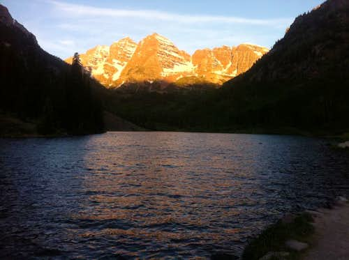 View of the Bells as we hiked through the valley at 5:30 am