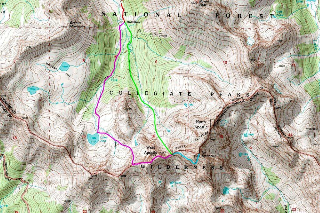 Southwest Face Route Map