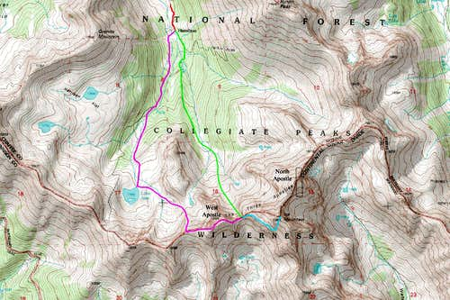 Southwest Face Route Map