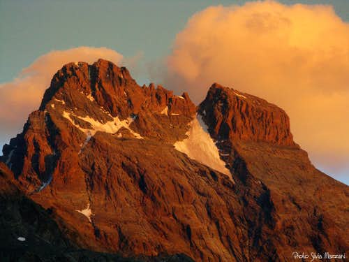 Monte Viso West face at sunset