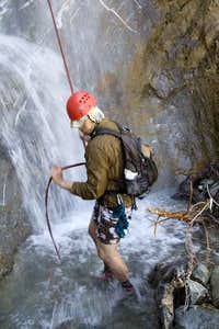 Joe after rappeling one of the falls