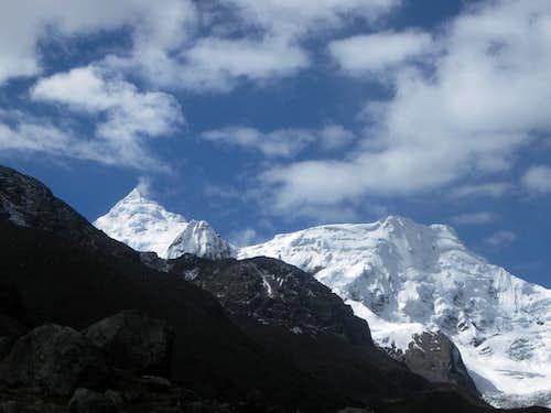 Nevado Huantsán (6369m) and Nevado Rurec (5700m)
