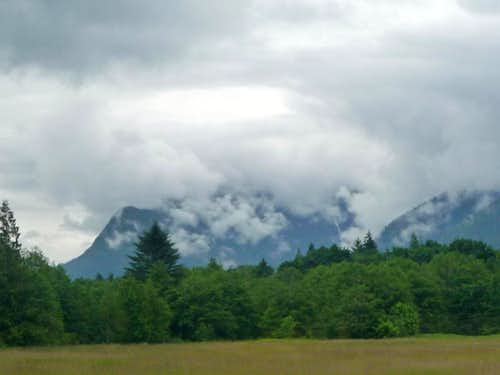 Jumbo Mountain covered in Clouds