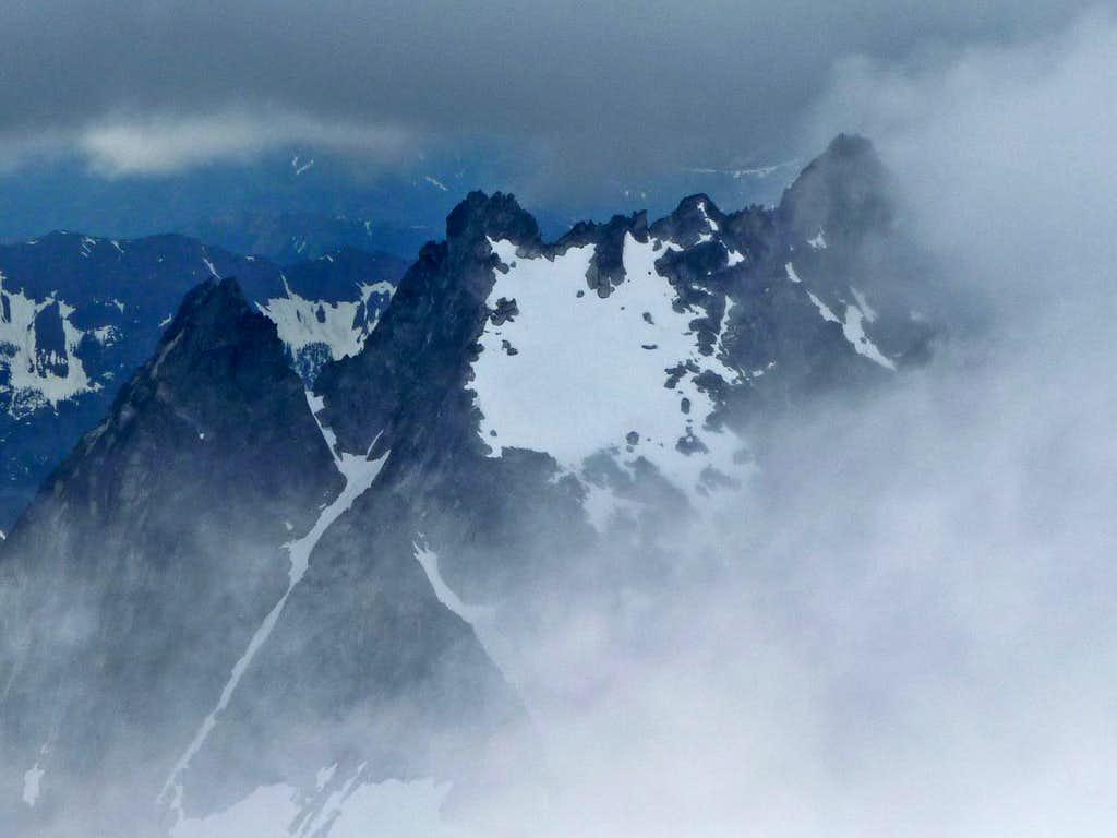 Argonaut Peak though the Clouds