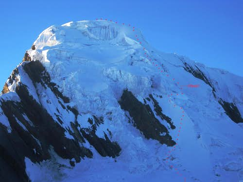 Uruashraju NW face, with route outline