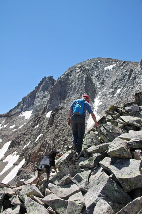 Scrambling along NW ridge