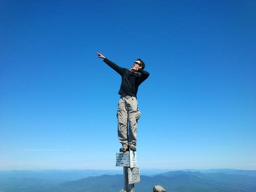 Standing on the Summit Post