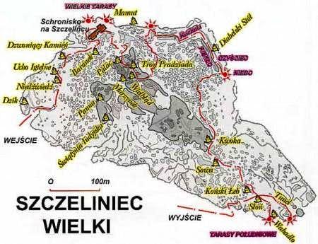 Schematic map of Szczeliniec Wielki