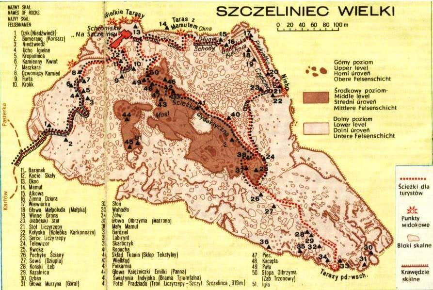 Old map of Szczeliniec Wielki