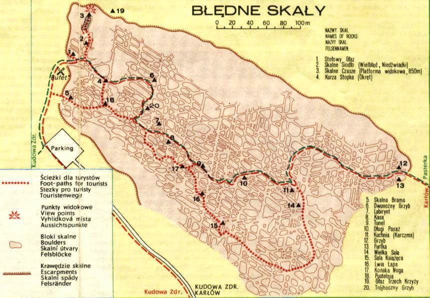 Old map of Błędne Skały
