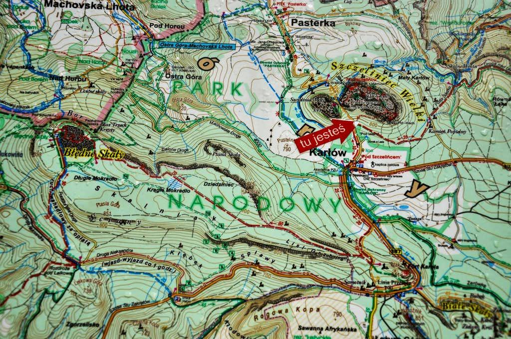 Map with Błędne Skały and Szczeliniec Wielki