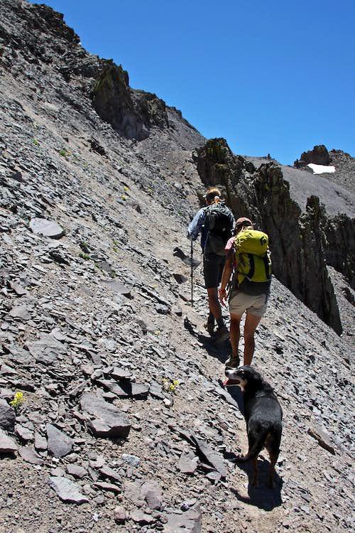 Steeper trail below the pass