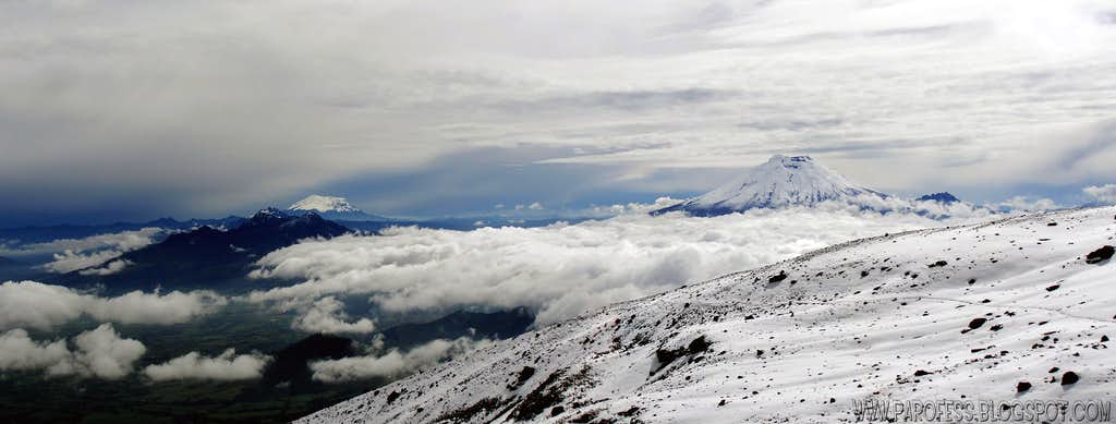 Antisana and Cotopaxi from Illinizas (ZOOM IN FOR MORE)