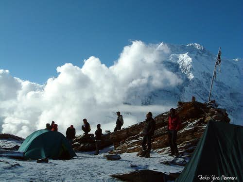 Waiting for the sunset at Pisang Peak Base camp