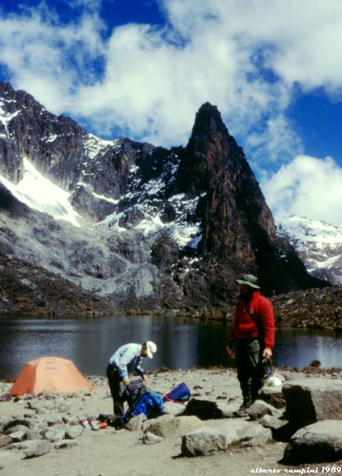 Mount Kenya: the camp on the shore of  the Two Tarn Lake