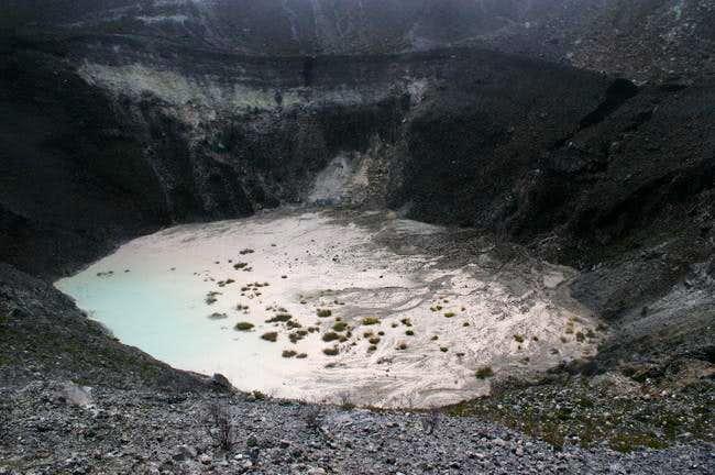 Crater lake of Turrialba volcano
