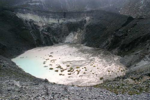 Crater lake of Turrialba volcano