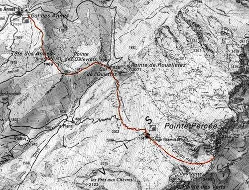 Pointe Percée, map of the...