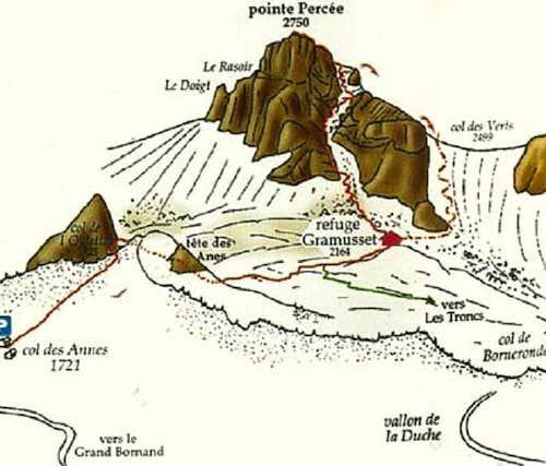Pointe Percée, topo of the...