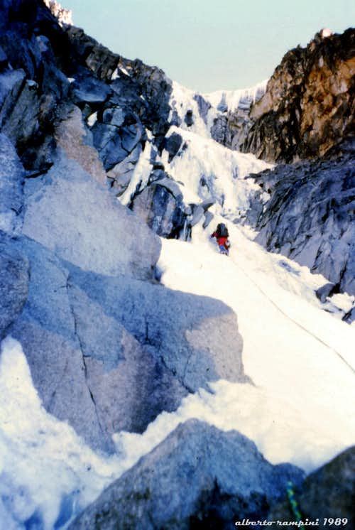 Diamond Couloir lower pitches in 1989