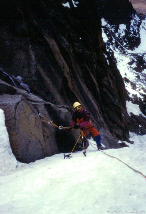 When Diamond Couloir was still a white iced-stripe