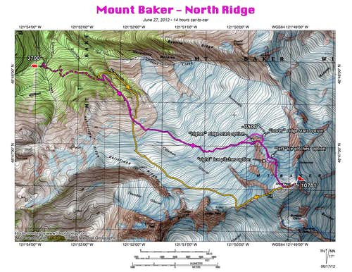 Mount Baker North Ridge topo